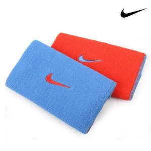 Munhequeira Comprida Nike Dri-FIt Dupla Face - Azul Claro e Laranja