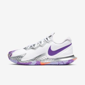 Tênis Nike Court  Air Zoom Vapor Cage 4 Feminino - Branco e Roxo