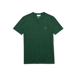 Camiseta Lacoste  Jérsei de Algodão Pima com Gola V - Verde