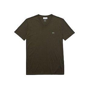 Camiseta Lacoste Jérsei de Algodão Pima com Gola V - Verde Khaki