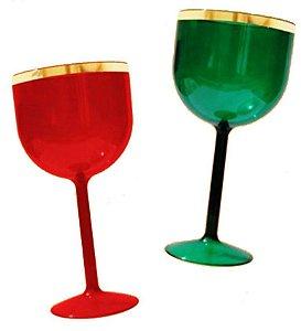 25 Taças De Gin Tradicional Com Borda Dourada de 500 ml Em Acrílico Sem Estampa