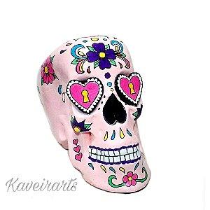 Caveira Mexicana Rosa c/ Olhos de Coração (Grande)