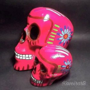 Caveira Mexicana Tradicional Rosa Grande e Pequena)