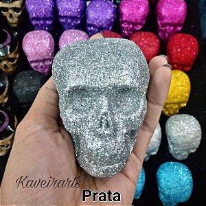 Caveira Glitter Pequena (opção de cores)