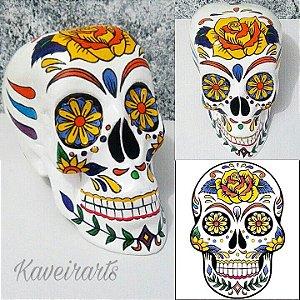 Caveira Mexicana Com Flor em 3 opções de cores (Grande)