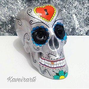 Caveira Mexicana Prata com 3 opções de modelo (Grande)