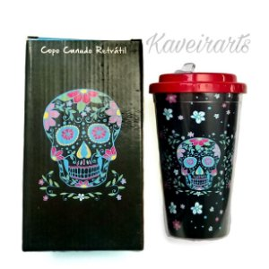 Copo Caveira Canudo Retratil 450ml