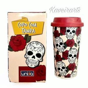 Copo Caveira e Rosas com tampa 500ml