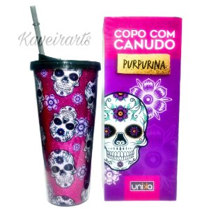 Copo Canudo Purpurina 650ml
