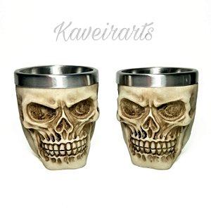 kit 2 copos shot crânio envelhecido 60ml