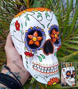 Caveira Mexicana Branca com Flor laranja (Grande)(Fechada ou Porta Treco)