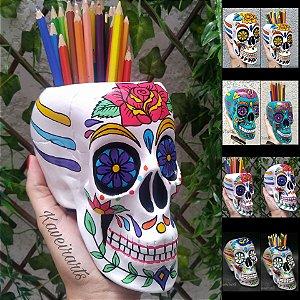 Caveira Mexicana com Flor e 4 opções de cores (Grande) (Fechada e Porta Treco)
