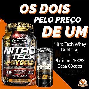 Nitro Tech Whey Gold 1kg + Bcaa Platinum 60caps