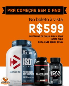Combo 1º do Ano - Iso 100 5lbs + Glutamina On 300g +BCAA 2400 Black Skull
