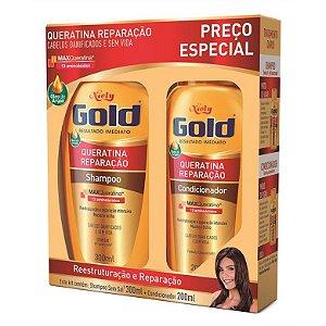 KIT SH+COND NIELY GOLD 300ML E 200ML QUERATINA E REPARACAO