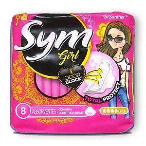 ABSORVENTE SYM GIRL COM ABAS SUAVE COM 8 UNIDADES