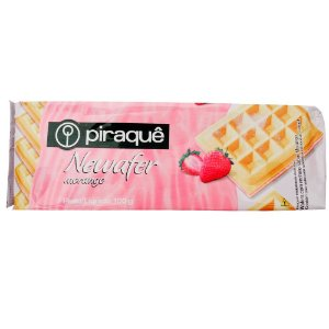 BISCOITO PIRAQUE 100G WAFER MORANGO