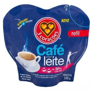 CAFE C/LEITE 3 CORACOES 100G SACHE