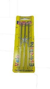 Vela Palito Estrelar 03 Unidades Karamello