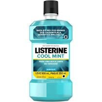ANTISSEPTICO BUCAL LISTERINE LEVE 500ML PAGUE 350ML COOL MINT HORTELA