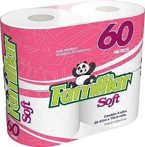 Papel Higienico Familiar Soft 60 Metros com  4 Unidades