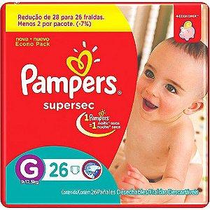 FRALDA PAMPERS SUPERSEC  G C/26UNDS
