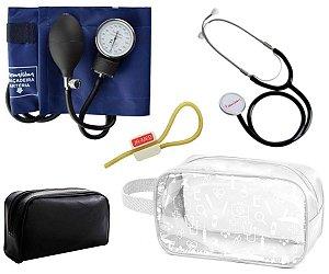 Kit Estágio Material de Enfermagem Aparelho de Pressão Esfigmomanômetro com Estetoscópio Simples Premium + Necessaire