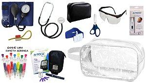 Kit Material de Enfermagem Aparelho de Pressão Esfigmomanômetro com Estetoscópio Simples Premium + Medidor de Glicose + Necessaire Estágio