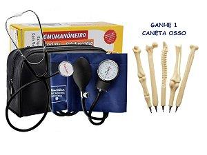 Kit Aparelho De Pressão Esfigmomanometro + Estetoscópio Simples Premium + Caneta Osso