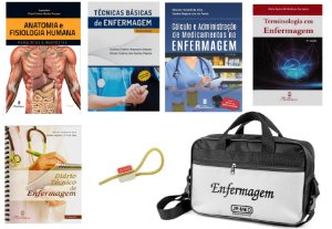 Kit Enfermagem Com 05 Livros: Amatomia + Técnicas Básicas + Cálculo + Terminologia + Diário + Bolsa Estágio JRMED