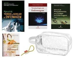 Kit Enfermagem com 04 livros Estágio: Manual do Técnico e Auxiliar + Terminologia + Diario + Manual de Procedimento + Necessaire JRMED
