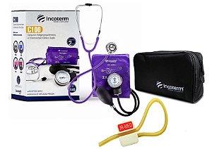 Kit Enfermagem: Aparelho de Pressão com Estetoscópio Clinico Duplo Incoterm Lilás + Garrote JRMED