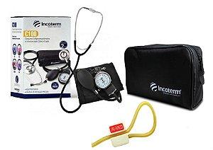 Kit Enfermagem: Aparelho de Pressão com Estetoscópio Clinico Duplo Incoterm Preto + Garrote JRMED
