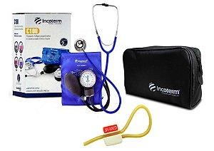 Kit Enfermagem: Aparelho de Pressão com Estetoscópio Clinico Duplo Incoterm Azul + Garrote JRMED