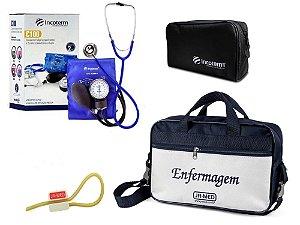 Kit Aparelho de Pressão com Estetoscópio Clinico Duplo Azul  Incoterm + Bolsa JRMED + Garrote JRMED