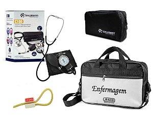 Kit Aparelho de Pressão com Estetoscópio Clinico Duplo Preto Incoterm + Bolsa JRMED + Garrote JRMED
