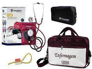 Kit Aparelho de Pressão com Estetoscópio Clinico Duplo Vinho Incoterm + Bolsa JRMED + Garrote JRMED
