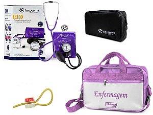 Kit Aparelho de Pressão com Estetoscópio Clinico Duplo Lilás Incoterm + Bolsa JRMED + Garrote JRMED
