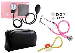 Kit Enfermagem: Aparelho de Pressão com Estetoscópio Rappaport Rosa Premium + Garrote JRMED