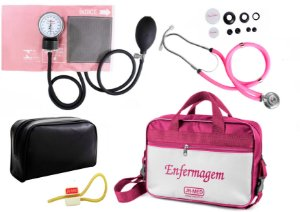 Kit Aparelho de Pressão com Estetoscópio Rappaport Premium Rosa + Bolsa JRMED + Garrote Exclusivo JRMED