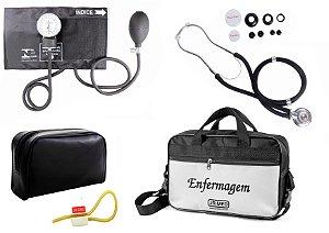 Kit Aparelho de Pressão com Estetoscópio Rappaport Premium Preto + Bolsa JRMED + Garrote Exclusivo JRMED