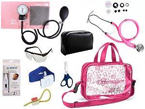 Kit Aparelho De Pressão com Estetoscópio Rappaport Premium Completo - Rosa