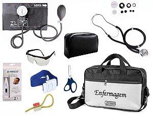 Kit Aparelho De Pressão com Estetoscópio Rappaport Premium Completo - Preto