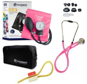 Kit Enfermagem: Aparelho De Pressão com Estetoscópio Rappaport Incoterm Pink JRMED + Garrote JRMED