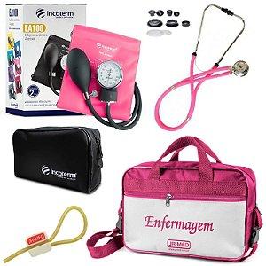 Kit Aparelho De Pressão com Estetoscópio Rappaport Incoterm com Bolsa - Pink