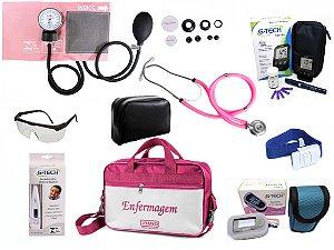 Kit Completo de Enfermagem com 8 itens - Rosa