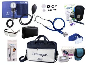 Kit Completo de Enfermagem com 8 itens - Azul