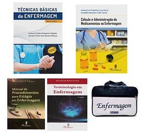 Kit Enfermagem: Técnicas Básicas + Cálculo e Administração de Medicamentos+ Manual de Procedimento+Terminologia + Bolsa
