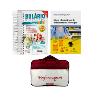 Kit Enfermagem: Bulário Detalhado +  Cálculo e Administração de Medicamentos na Enfermagem 5ª Edição + Bolsa JRMED