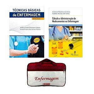 KIT ENFERMAGEM: TÉCNICAS BÁSICAS DE ENFERMAGEM 5ª ED.+ CÁLCULO E ADMINISTRAÇÃO DE MEDICAMENTOS 5ª ED + BOLSA JRMED